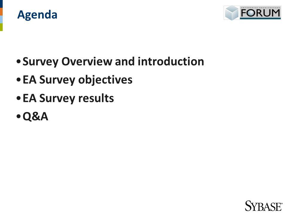 Agenda Survey Overview and introduction EA Survey objectives EA Survey results Q&A