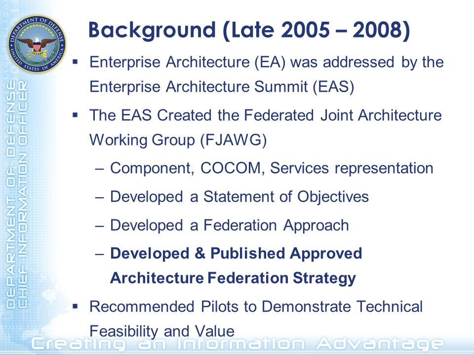 Background (Late 2005 – 2008) Enterprise Architecture (EA) was addressed by the Enterprise Architecture Summit (EAS) The EAS Created the Federated Joint Architecture Working Group (FJAWG) –Component, COCOM, Services representation –Developed a Statement of Objectives –Developed a Federation Approach –Developed & Published Approved Architecture Federation Strategy Recommended Pilots to Demonstrate Technical Feasibility and Value
