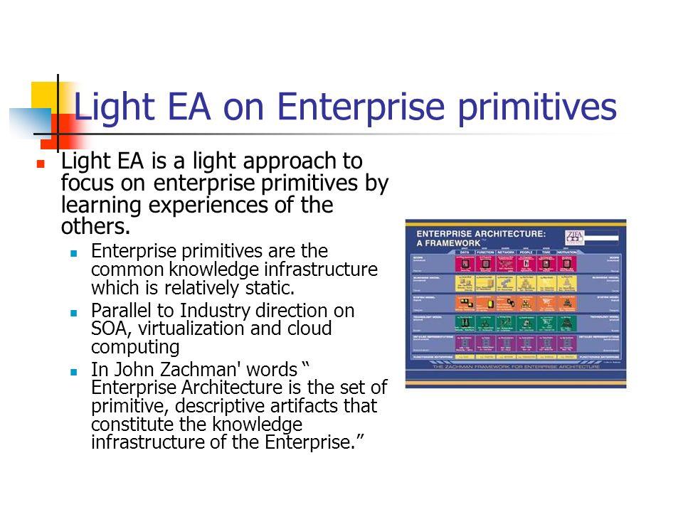 Light EA on Enterprise primitives Light EA is a light approach to focus on enterprise primitives by learning experiences of the others. Enterprise pri