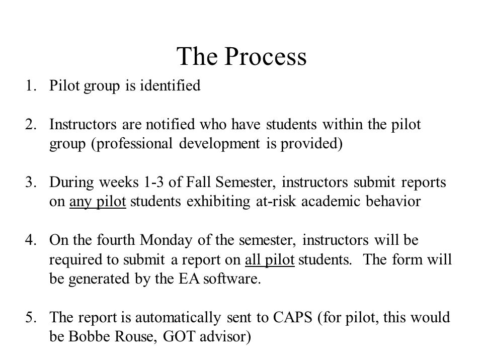 The Process (cont) 6.If a student is flagged (i.e.