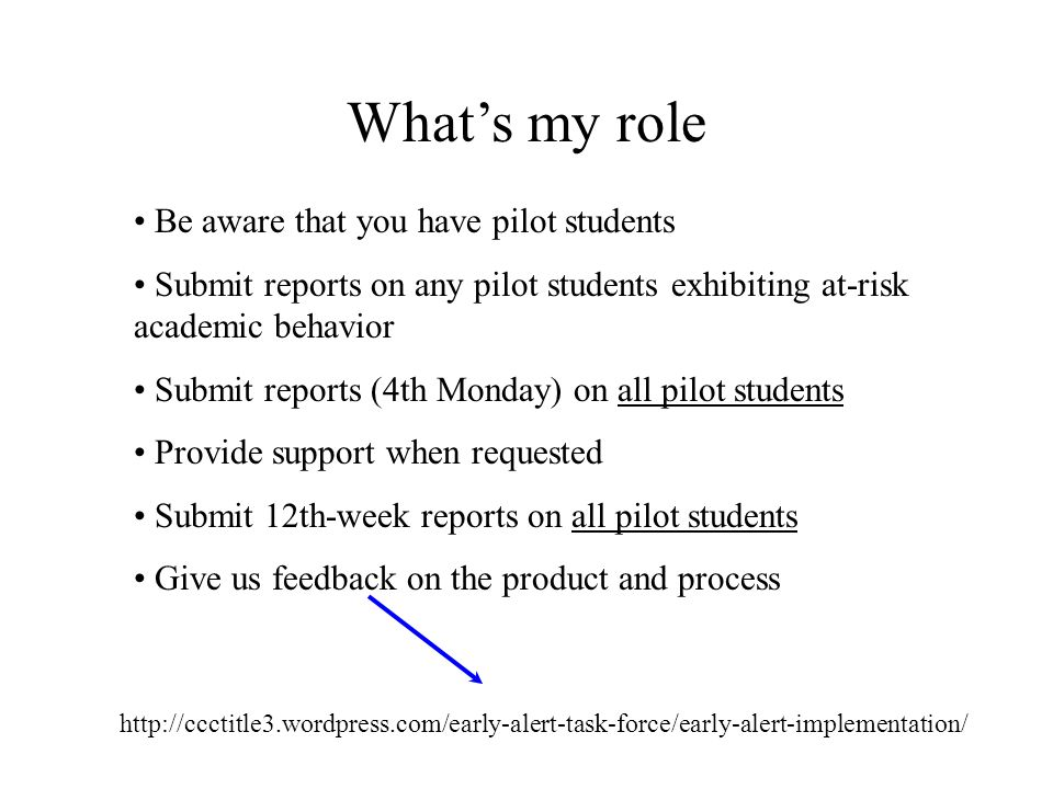 Whats my role http://ccctitle3.wordpress.com/early-alert-task-force/early-alert-implementation/ Be aware that you have pilot students Submit reports o