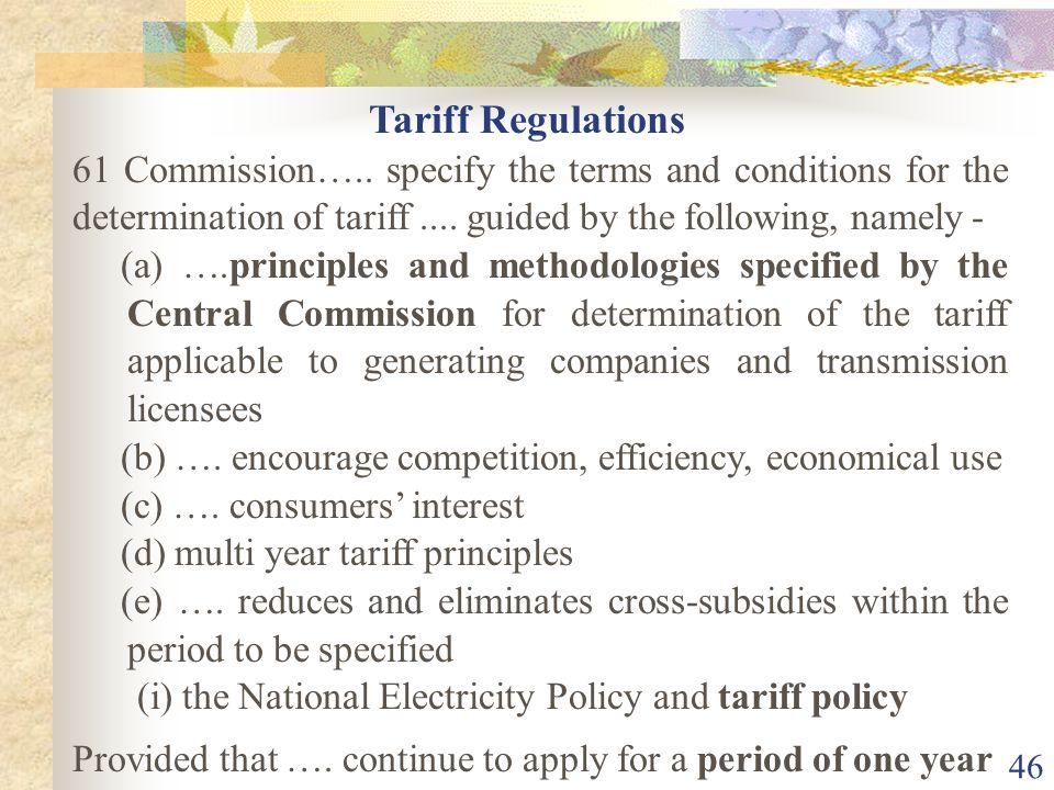 45 Determination of Tariff