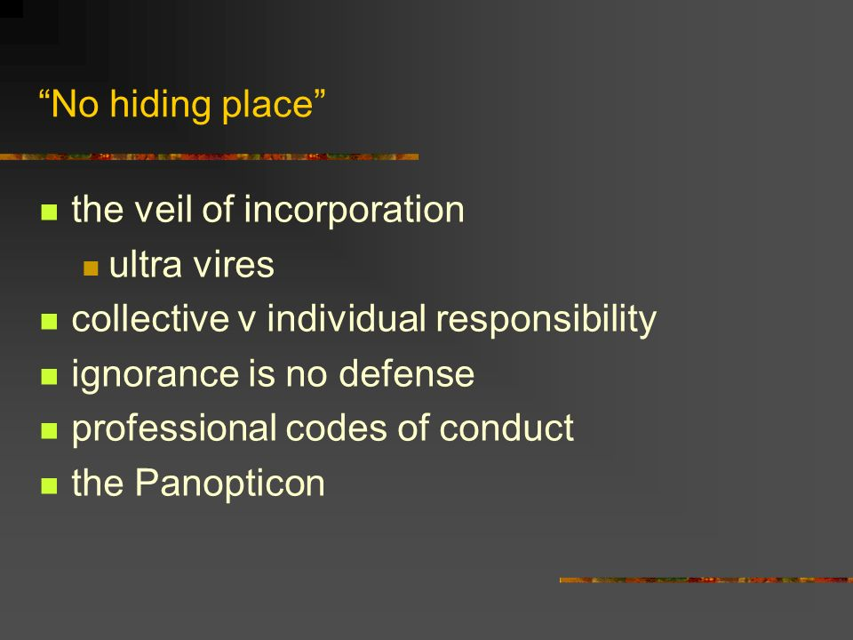 No hiding place the veil of incorporation ultra vires collective v individual responsibility ignorance is no defense professional codes of conduct the