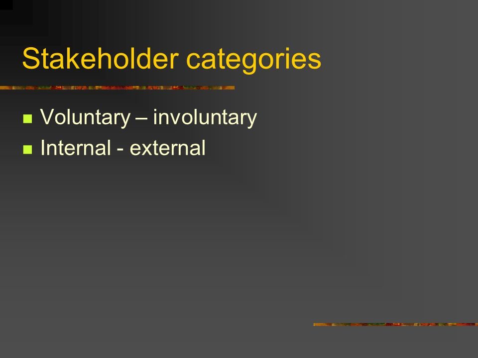 Stakeholder categories Voluntary – involuntary Internal - external