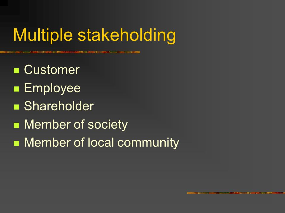 Multiple stakeholding Customer Employee Shareholder Member of society Member of local community