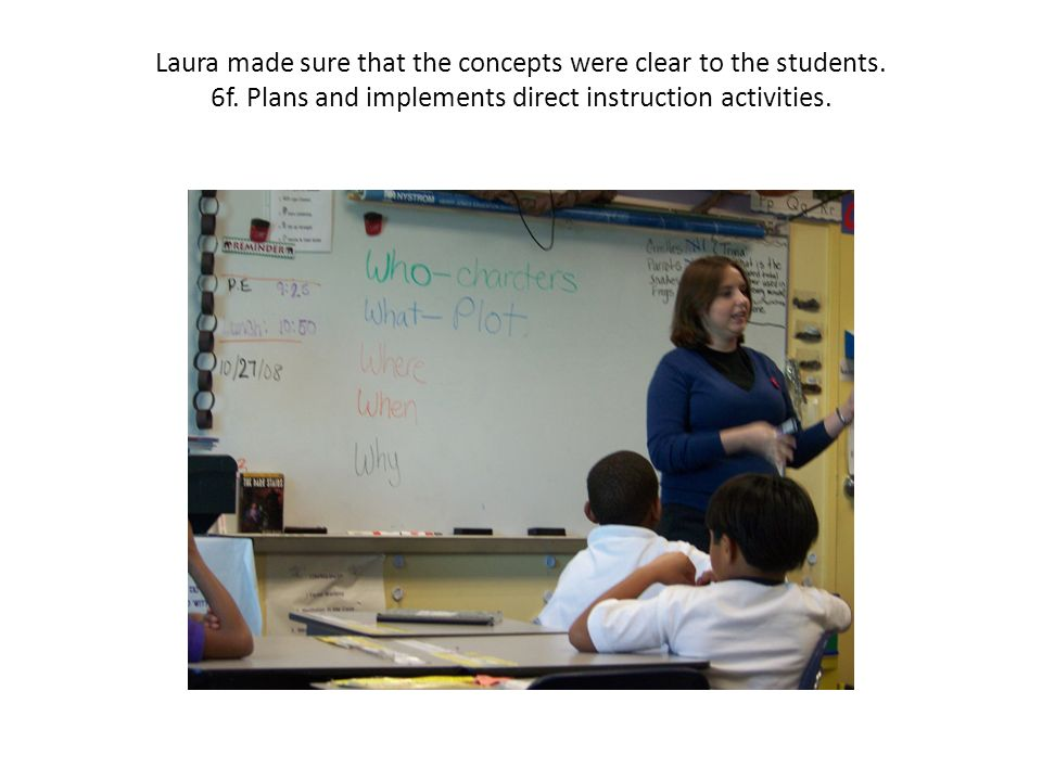 Laura made sure that the concepts were clear to the students.