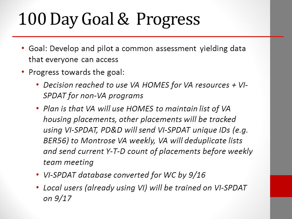 100 Day Goal & Progress Goal: Develop and pilot a common assessment yielding data that everyone can access Progress towards the goal: Decision reached to use VA HOMES for VA resources + VI- SPDAT for non-VA programs Plan is that VA will use HOMES to maintain list of VA housing placements, other placements will be tracked using VI-SPDAT, PD&D will send VI-SPDAT unique IDs (e.g.