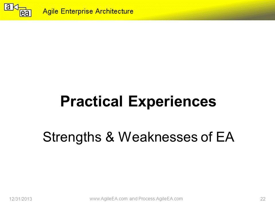 Practical Experiences Strengths & Weaknesses of EA 12/31/2013 www.AgileEA.com and Process.AgileEA.com 22