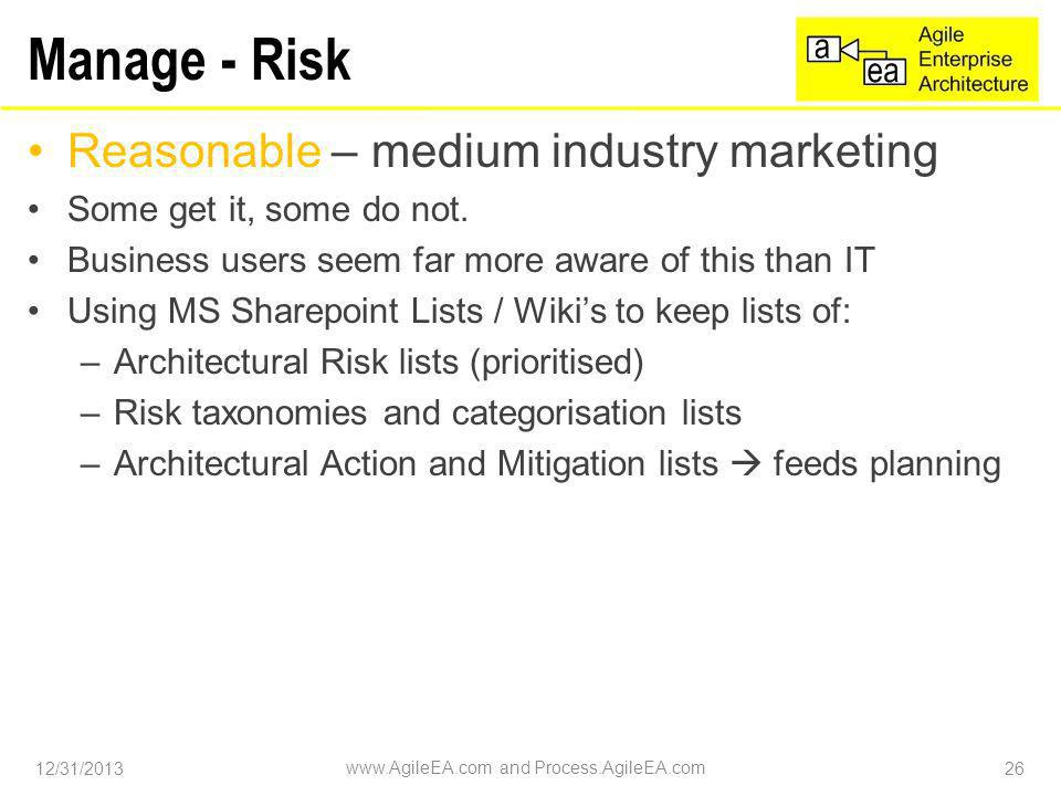 Manage - Risk Reasonable – medium industry marketing Some get it, some do not.