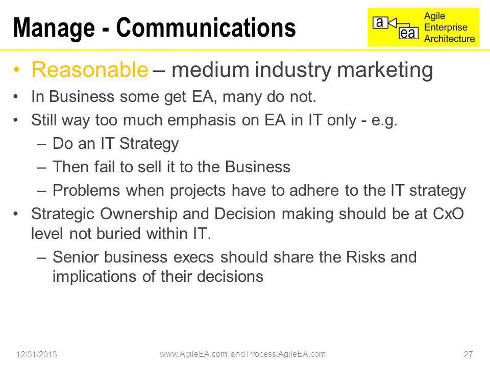 Manage - Communications Reasonable – medium industry marketing In Business some get EA, many do not.
