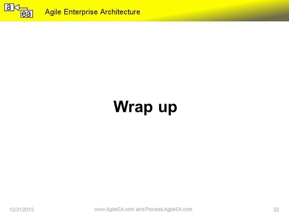 Wrap up 12/31/2013 www.AgileEA.com and Process.AgileEA.com 32