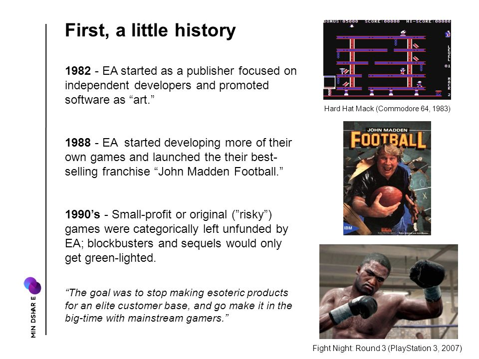1982 - EA started as a publisher focused on independent developers and promoted software as art.