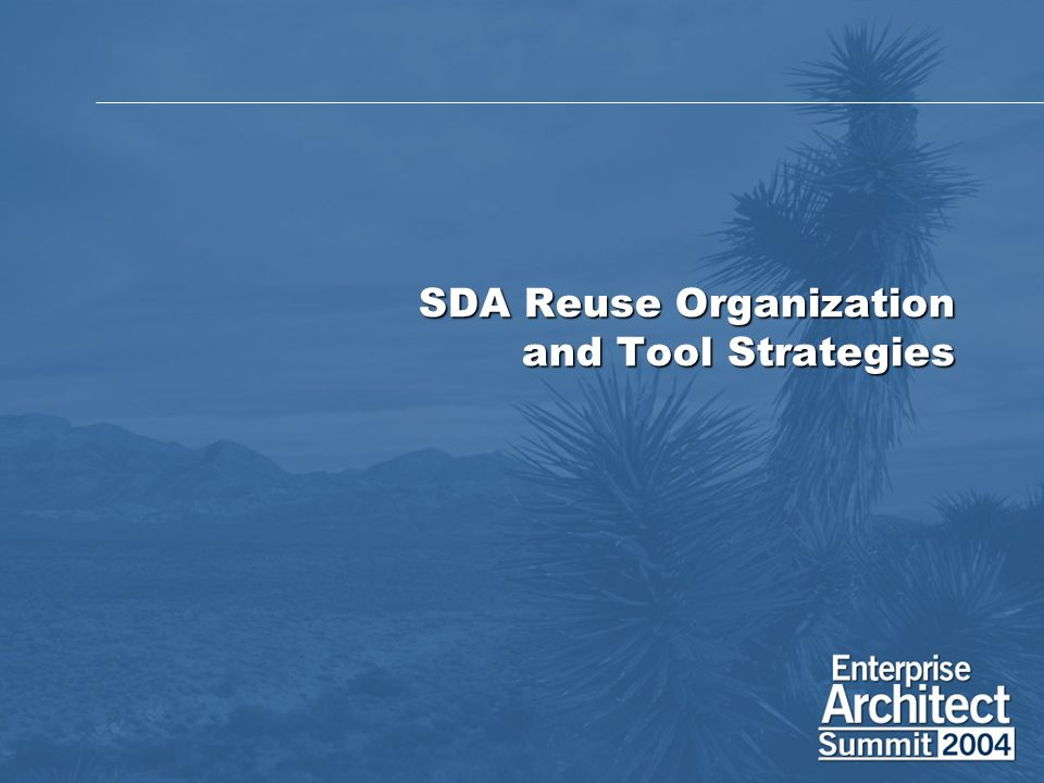SDA Reuse Organization and Tool Strategies