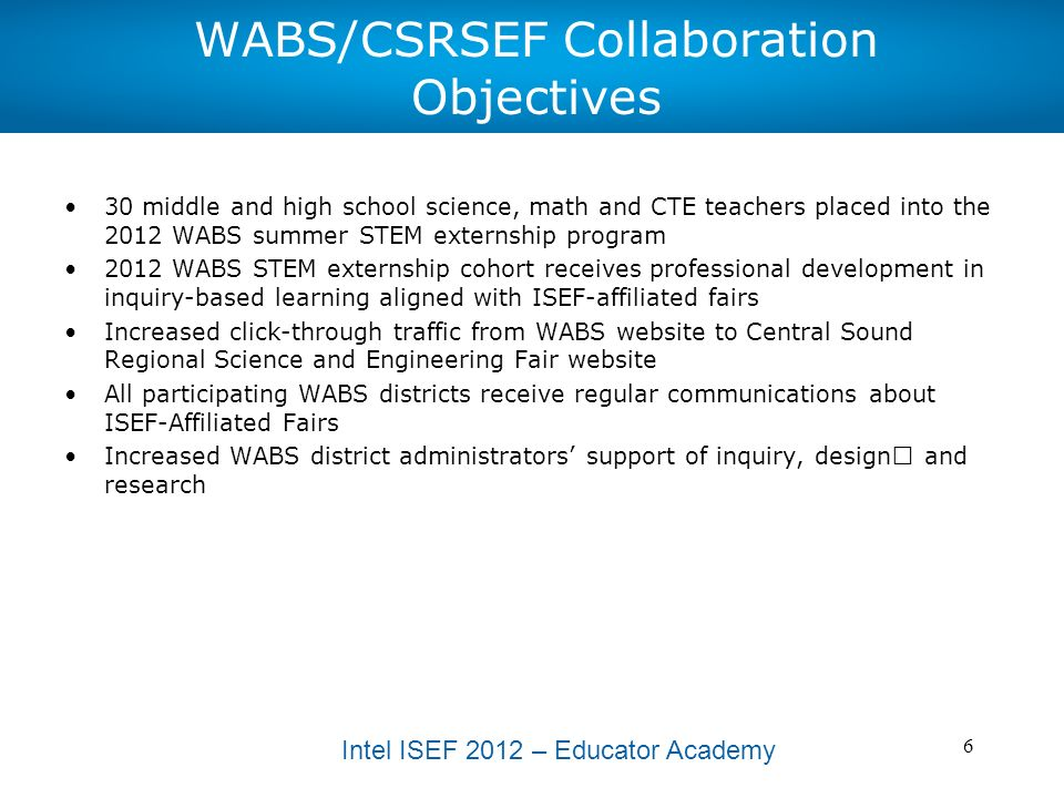 Intel ISEF 2012 – Educator Academy 7 Action Plan – Steps to Meet Our Goals and Objectives ActionMeasure success?Whos Responsible?Deadline.