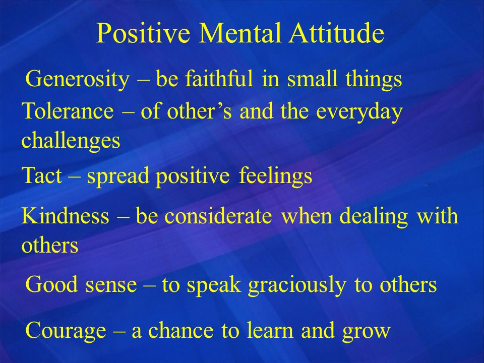 Positive Mental Attitude Generosity – be faithful in small things Tolerance – of others and the everyday challenges Tact – spread positive feelings Ki