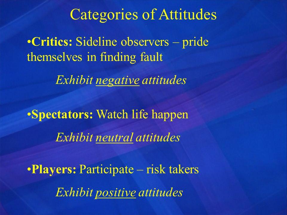 Categories of Attitudes Critics: Sideline observers – pride themselves in finding fault Exhibit negative attitudes Spectators: Watch life happen Exhib