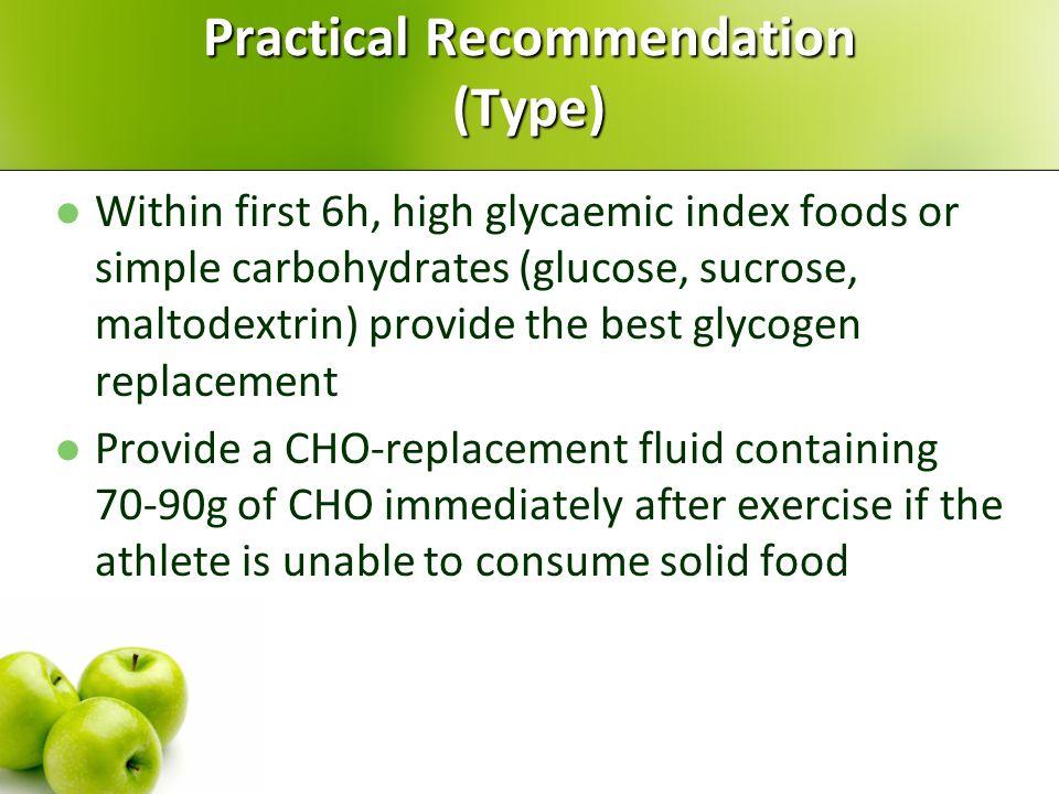 Type 1. Glucose, sucrose, maltodextrins (6-8% solution) 2. Liquid versus solid 3. Low versus high glycaemic index foods