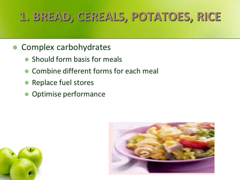 BALANCED EATING 1. Bread, cereals, potatoes, rice 55-65% of daily food. 2. Fruit & vegetables Eat 5 portions every day (include variety) 3,4.Meat & fi