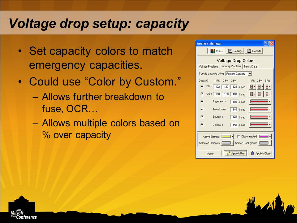 Voltage drop setup: capacity Set capacity colors to match emergency capacities.