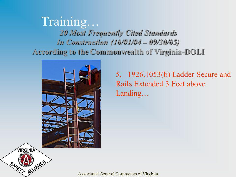 Associated General Contractors of Virginia Training… 20 Most Frequently Cited Standards In Construction (10/01/04 – 09/30/05) According to the Commonw