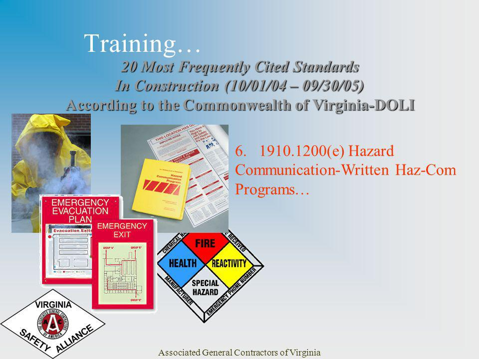 Associated General Contractors of Virginia Training… 20 Most Frequently Cited Standards In Construction (10/01/04 – 09/30/05) According to the Commonwealth of Virginia-DOLI 6.