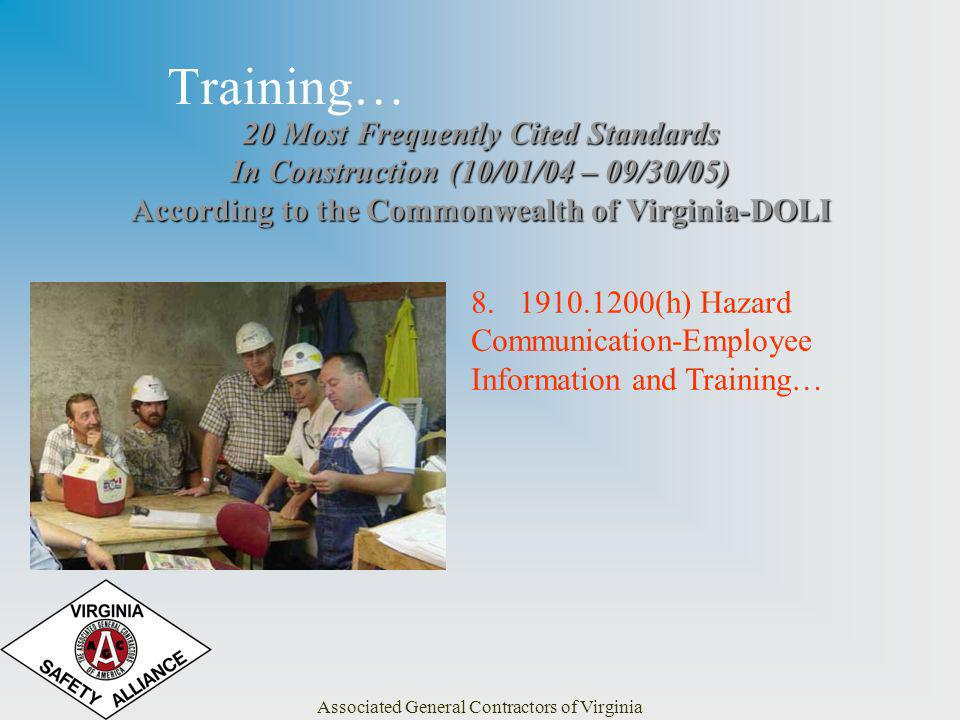Associated General Contractors of Virginia Training… 20 Most Frequently Cited Standards In Construction (10/01/04 – 09/30/05) According to the Commonwealth of Virginia-DOLI 8.