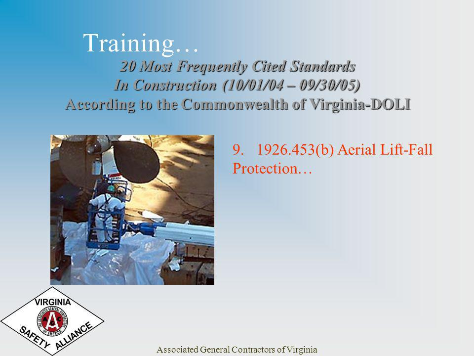 Associated General Contractors of Virginia Training… 20 Most Frequently Cited Standards In Construction (10/01/04 – 09/30/05) According to the Commonwealth of Virginia-DOLI 9.