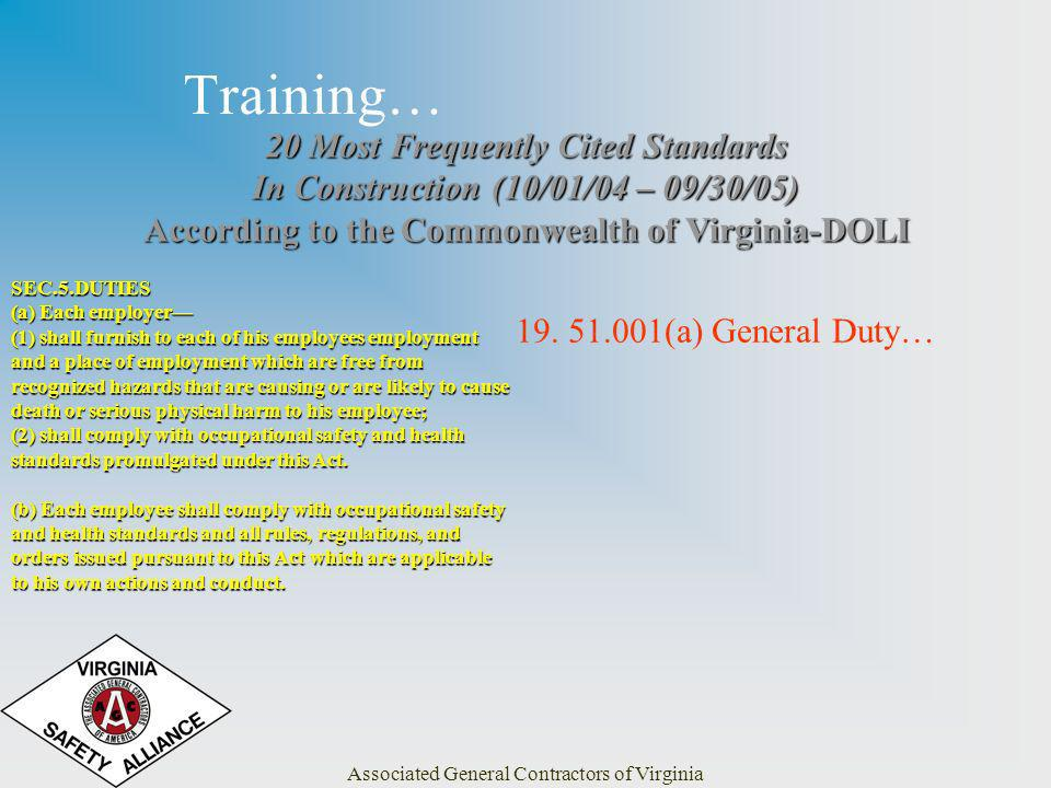 Associated General Contractors of Virginia Training… 20 Most Frequently Cited Standards In Construction (10/01/04 – 09/30/05) According to the Commonwealth of Virginia-DOLI 19.