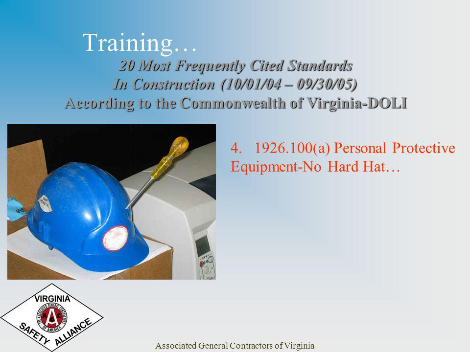 Associated General Contractors of Virginia Training… 20 Most Frequently Cited Standards In Construction (10/01/04 – 09/30/05) According to the Commonwealth of Virginia-DOLI 4.