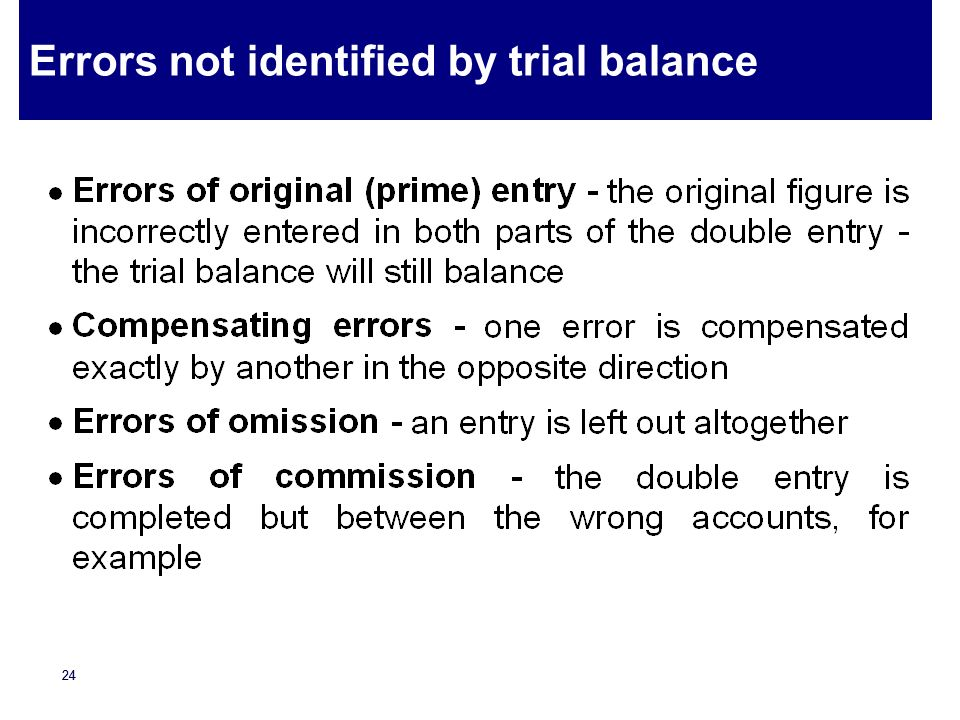 23 Errors identified by trial balance