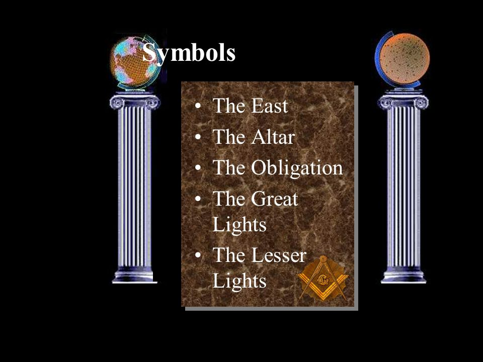 Symbols The East The Altar The Obligation The Great Lights The Lesser Lights