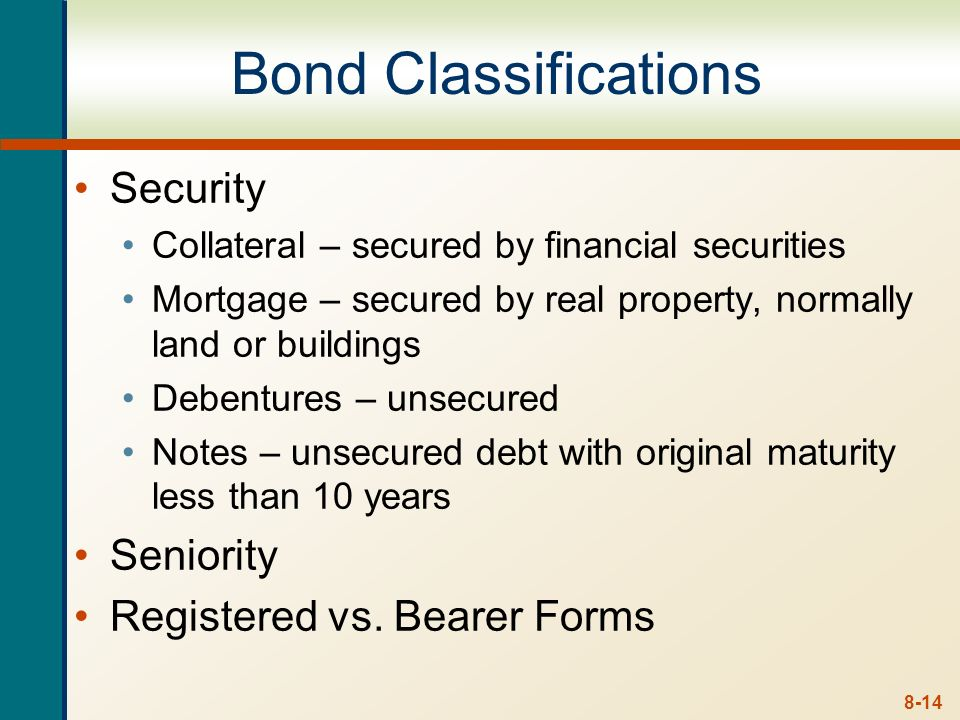 8-13 The Bond Indenture Contract between the company and the bondholders and includes The basic terms of the bonds The total amount of bonds issued A