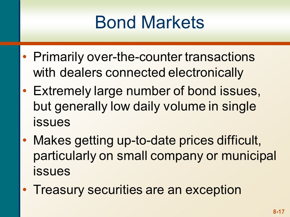 8-16 Types of Bonds Treasury Securities Federal government debt: T-bills, T-notes, T-bonds Municipal Securities Debt of state and local governments In