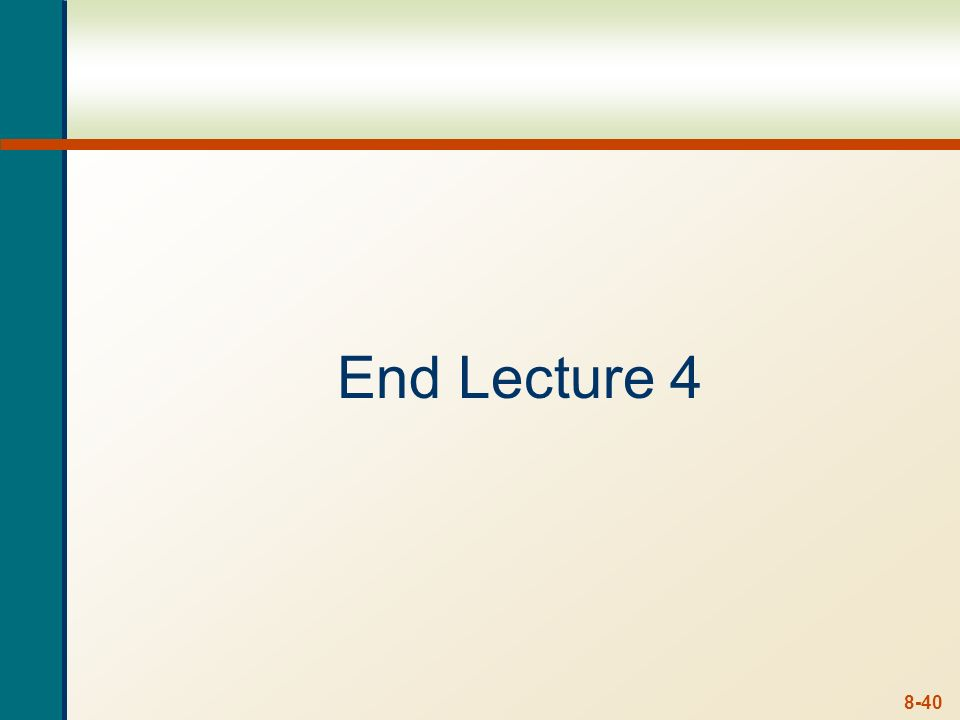8-39 Lecture 4 - Summary Bonds Features Valuation Types Markets & Quotes Nominal and Real interest rates Share Valuation Zero Growth - Perpetuity Cons