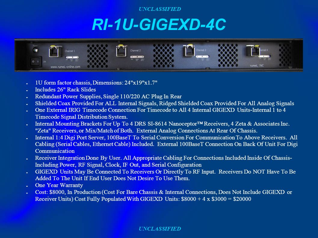 UNCLASSIFIED RI-1U-GIGEXD-4C 1U form factor chassis, Dimensions: 24