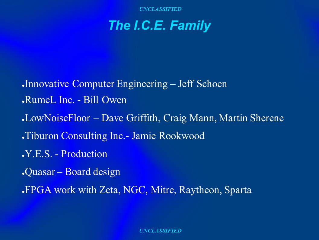 UNCLASSIFIED The I.C.E. Family Innovative Computer Engineering – Jeff Schoen RumeL Inc.