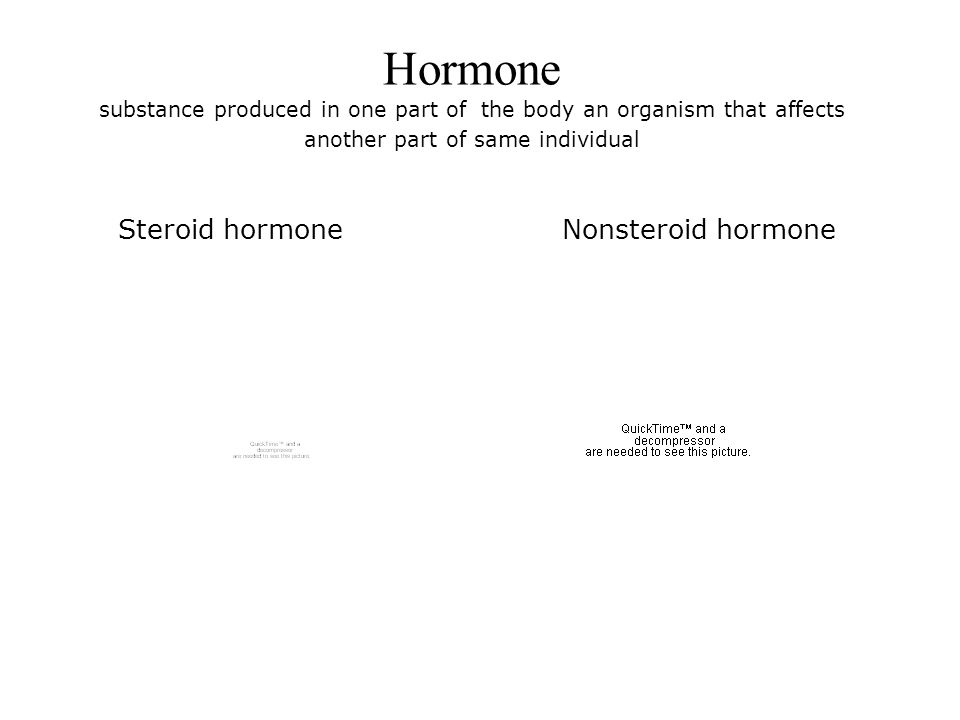 Hormone substance produced in one part of the body an organism that affects another part of same individual Steroid hormoneNonsteroid hormone