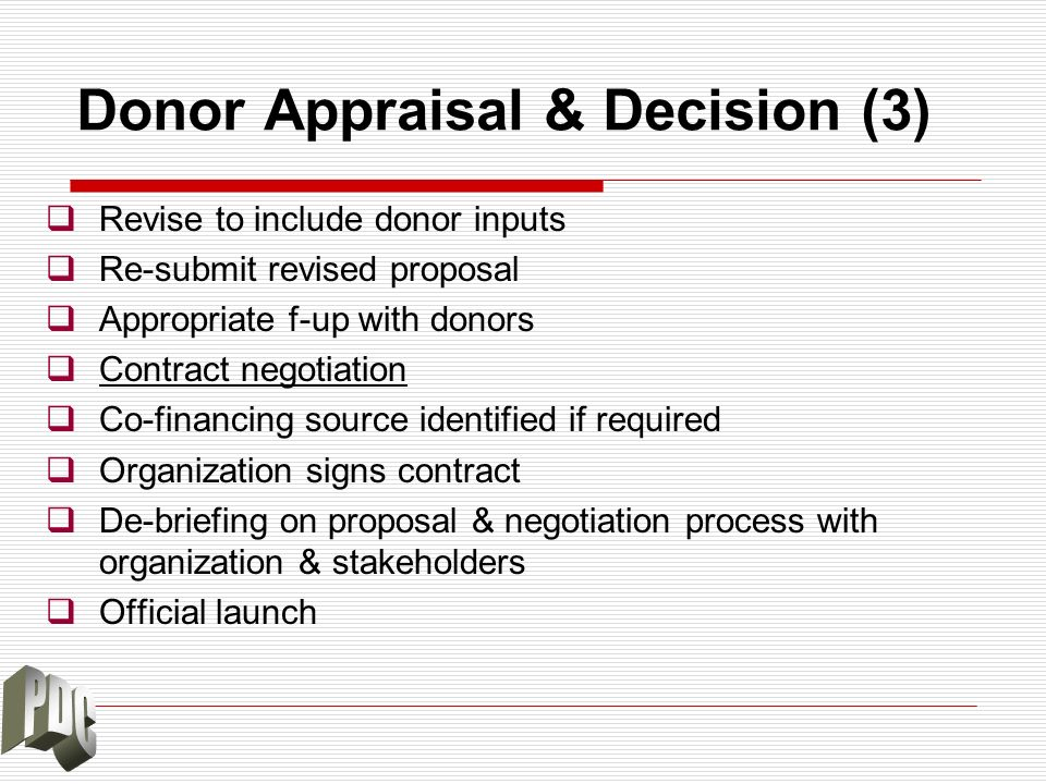 Donor Appraisal & Decision (3) Revise to include donor inputs Re-submit revised proposal Appropriate f-up with donors Contract negotiation Co-financin