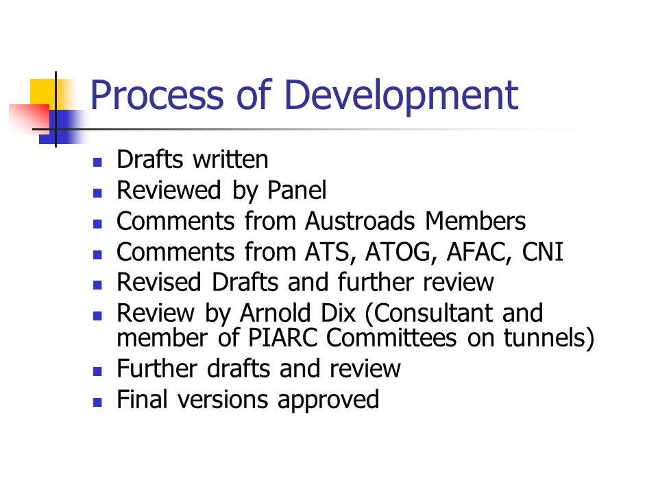 Process of Development Drafts written Reviewed by Panel Comments from Austroads Members Comments from ATS, ATOG, AFAC, CNI Revised Drafts and further