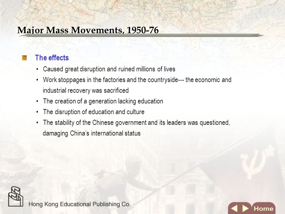 Major Mass Movements, 1950-76 The background Maos position was insecure after the failure of the Three Red Banners.