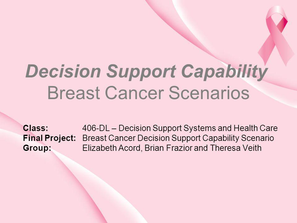 Decision Support Capability Breast Cancer Scenarios Class: 406-DL – Decision Support Systems and Health Care Final Project: Breast Cancer Decision Sup
