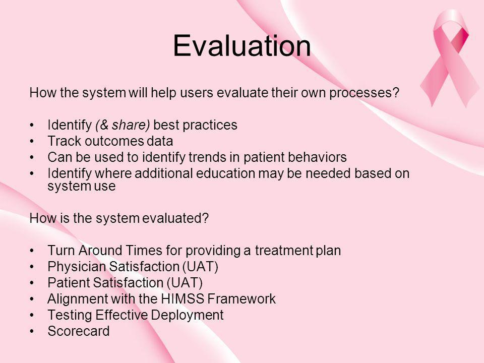 Evaluation How the system will help users evaluate their own processes? Identify (& share) best practices Track outcomes data Can be used to identify
