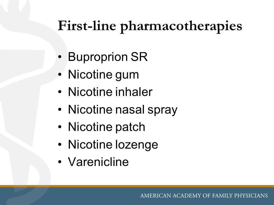 First-line pharmacotherapies Buproprion SR Nicotine gum Nicotine inhaler Nicotine nasal spray Nicotine patch Nicotine lozenge Varenicline