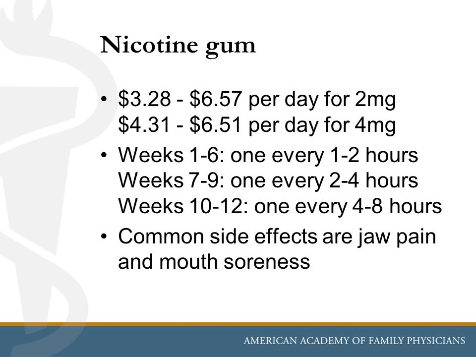 Nicotine gum $3.28 - $6.57 per day for 2mg $4.31 - $6.51 per day for 4mg Weeks 1-6: one every 1-2 hours Weeks 7-9: one every 2-4 hours Weeks 10-12: on