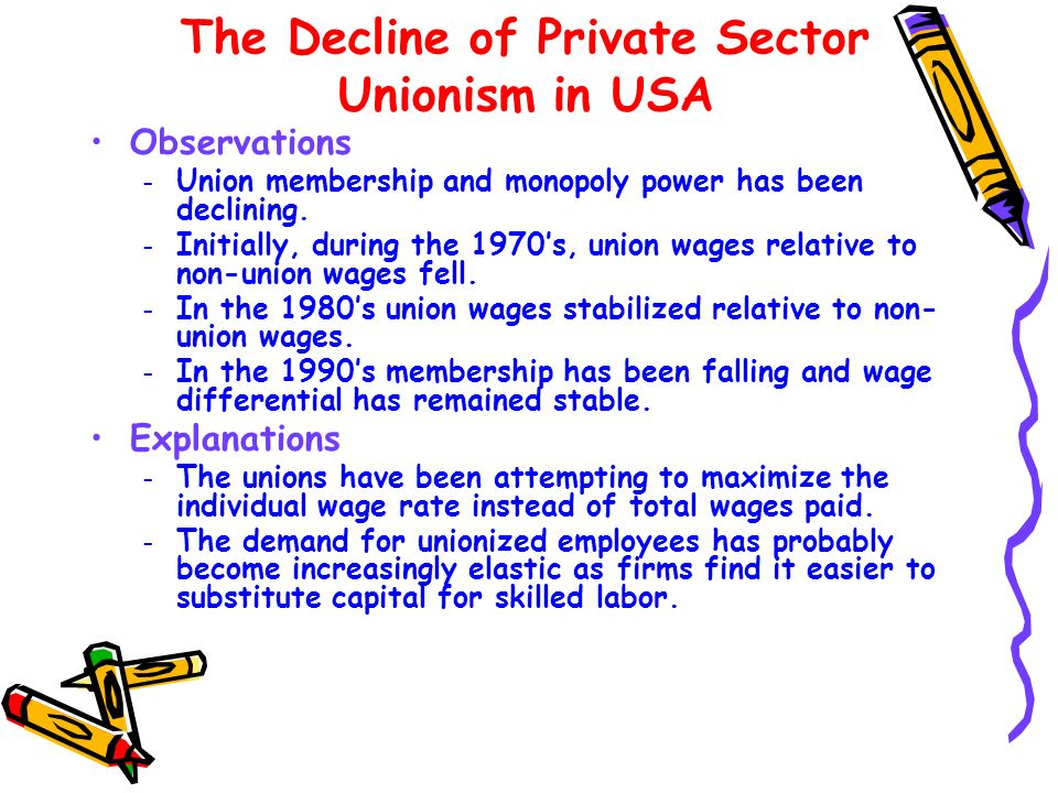 The Decline of Private Sector Unionism in USA Observations – Union membership and monopoly power has been declining. – Initially, during the 1970s, un