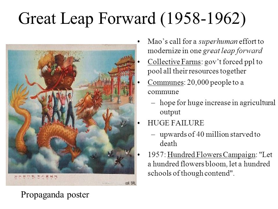 Great Leap Forward (1958-1962) Maos call for a superhuman effort to modernize in one great leap forward Collective Farms: govt forced ppl to pool all