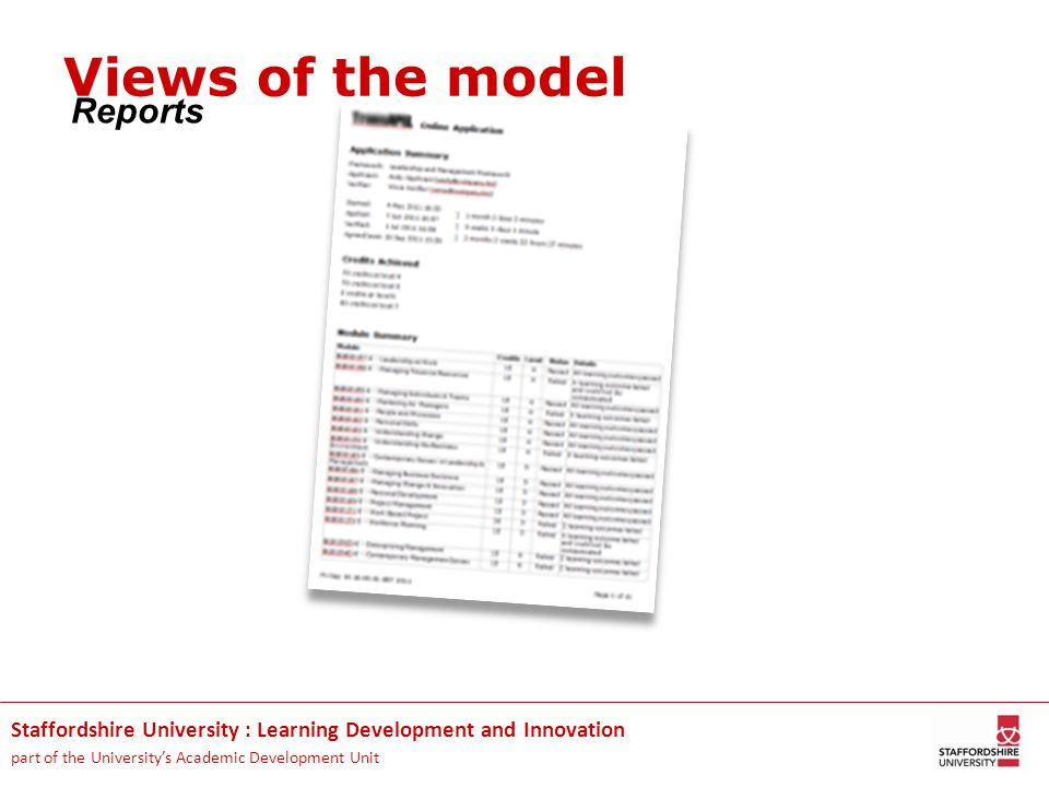 Staffordshire University : Learning Development and Innovation part of the Universitys Academic Development Unit Reports Views of the model