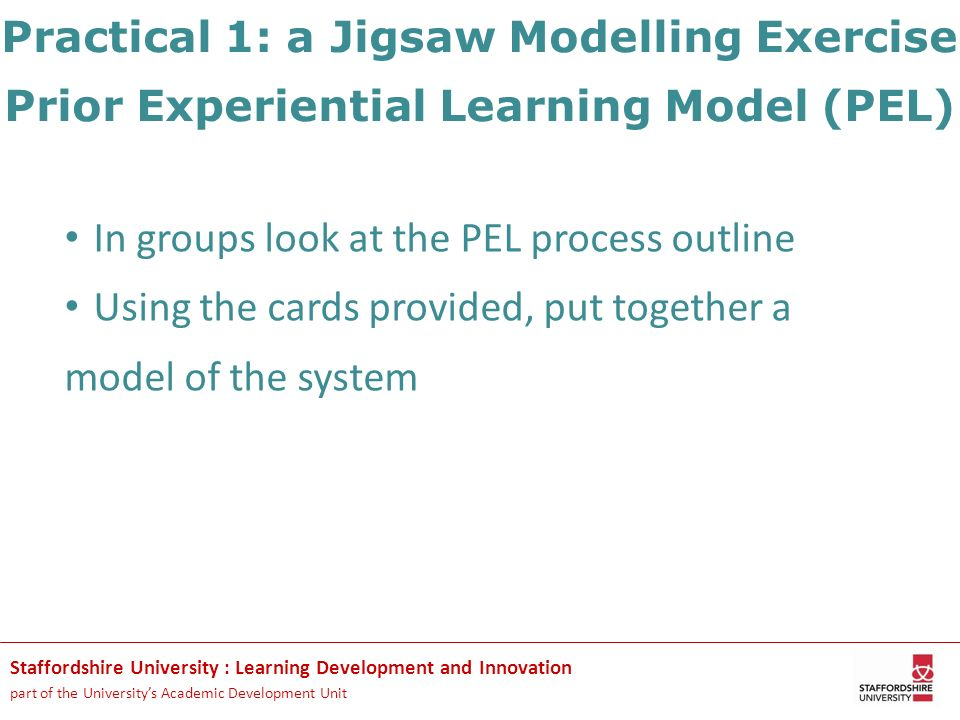 Staffordshire University : Learning Development and Innovation part of the Universitys Academic Development Unit Practical 1: a Jigsaw Modelling Exerc
