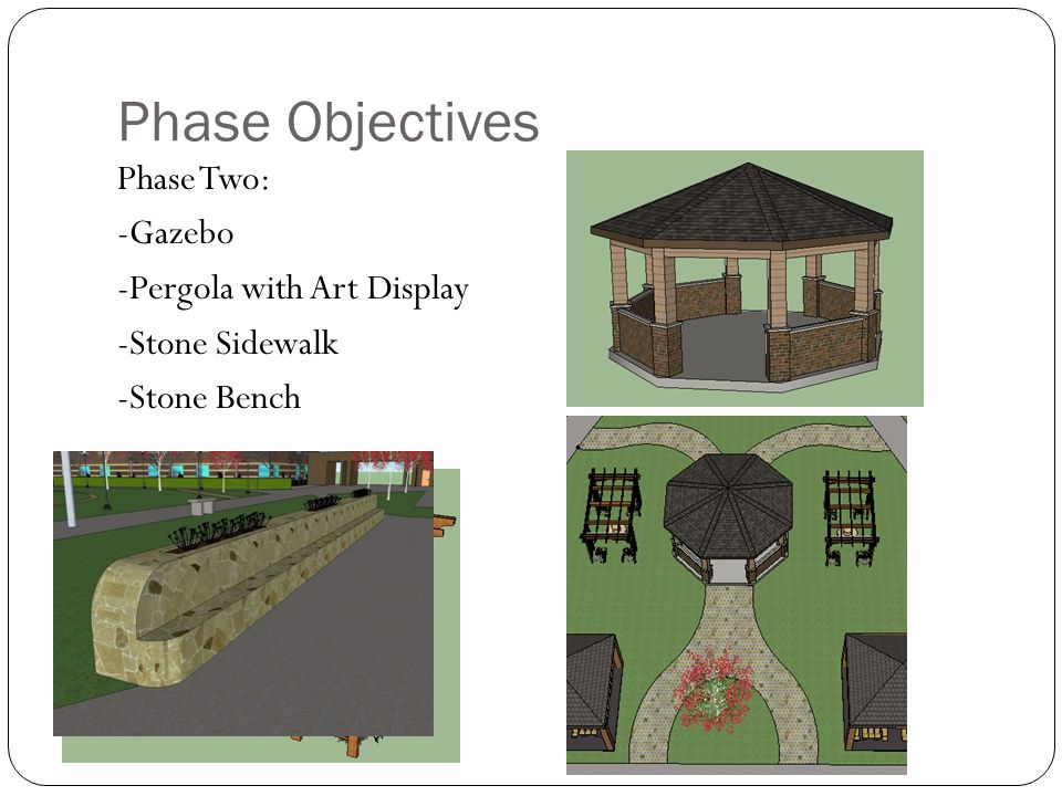 Phase Objectives Phase Two: -Gazebo -Pergola with Art Display -Stone Sidewalk -Stone Bench