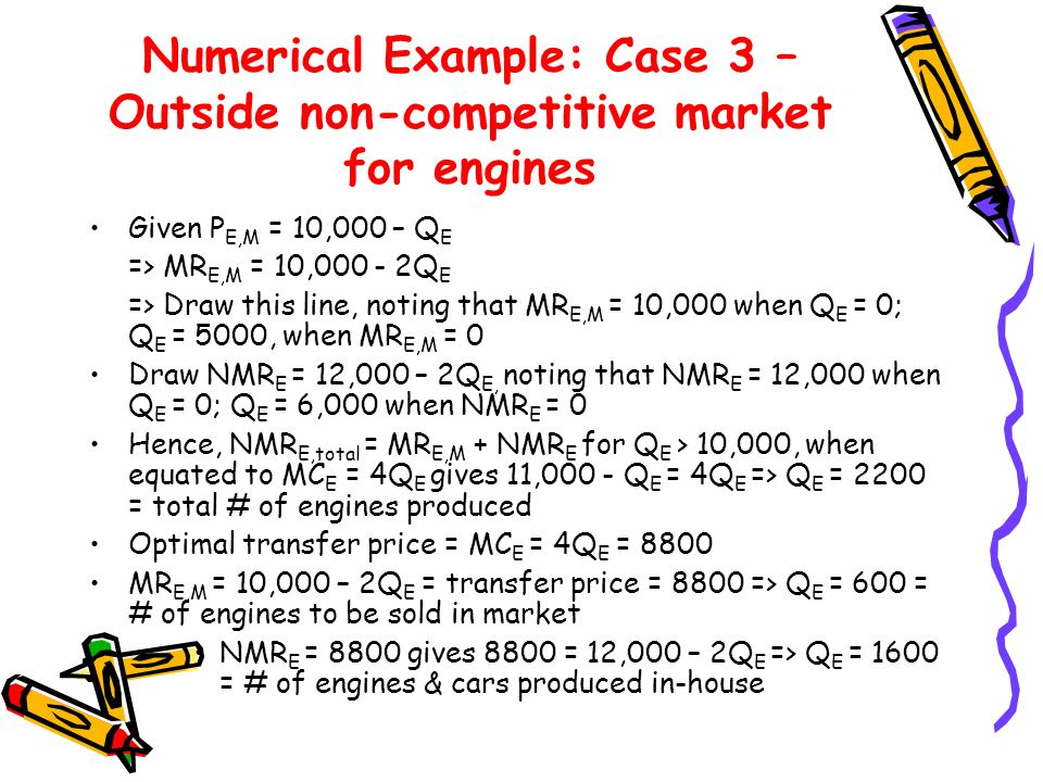 Numerical Example: Case 3 – Outside non-competitive market for engines Given P E,M = 10,000 – Q E => MR E,M = 10,000 - 2Q E => Draw this line, noting